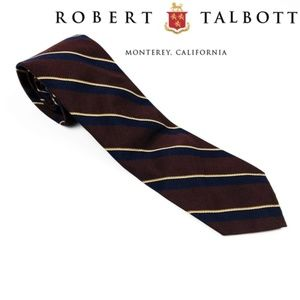 Robert Talbott Brown Blue Stripe Silk Tie